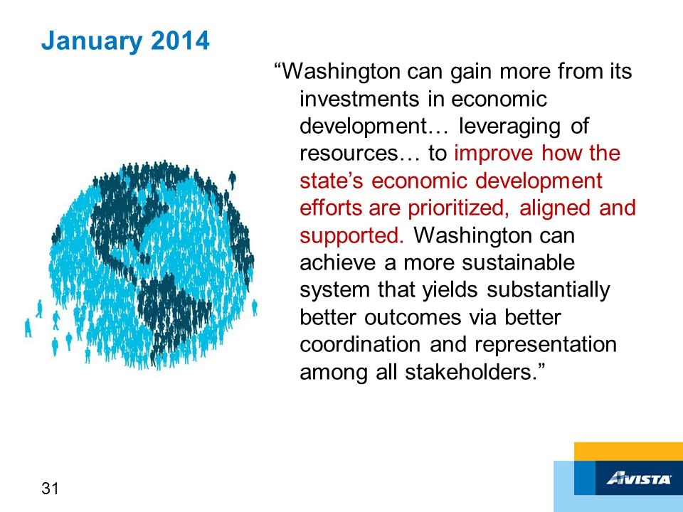 January 2014 Washington can gain more from its investments in economic development… leveraging of resources… to improve how the state's economic development efforts are prioritized, aligned and supported.