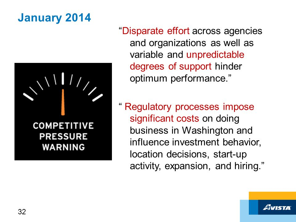 January 2014 Disparate effort across agencies and organizations as well as variable and unpredictable degrees of support hinder optimum performance. Regulatory processes impose significant costs on doing business in Washington and influence investment behavior, location decisions, start-up activity, expansion, and hiring. 32