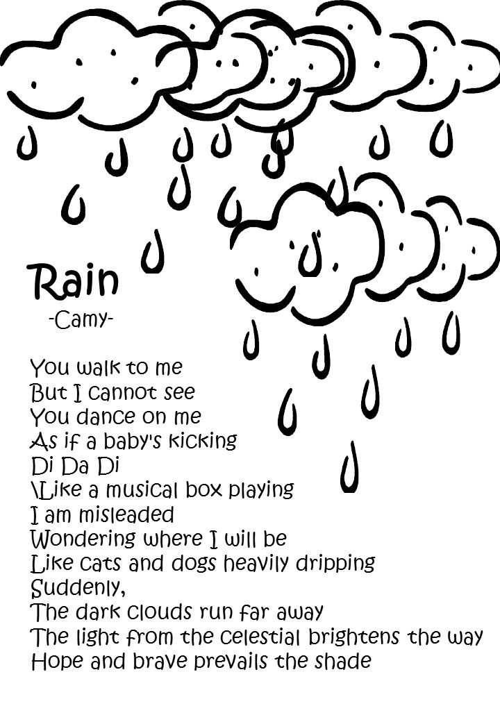 Rain -Camy- You walk to me But I cannot see You dance on me As if a baby s kicking Di Da Di \Like a musical box playing I am misleaded Wondering where I will be Like cats and dogs heavily dripping Suddenly, The dark clouds run far away The light from the celestial brightens the way Hope and brave prevails the shade
