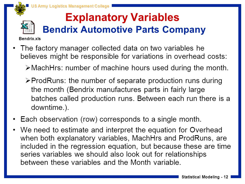 Statistical Modeling - 12 US Army Logistics Management College Explanatory Variables Bendrix Automotive Parts Company The factory manager collected da