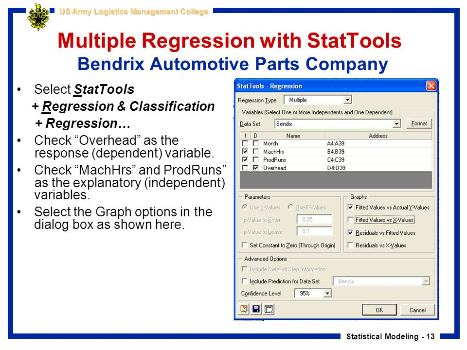 Statistical Modeling - 13 US Army Logistics Management College Multiple Regression with StatTools Bendrix Automotive Parts Company Select StatTools +