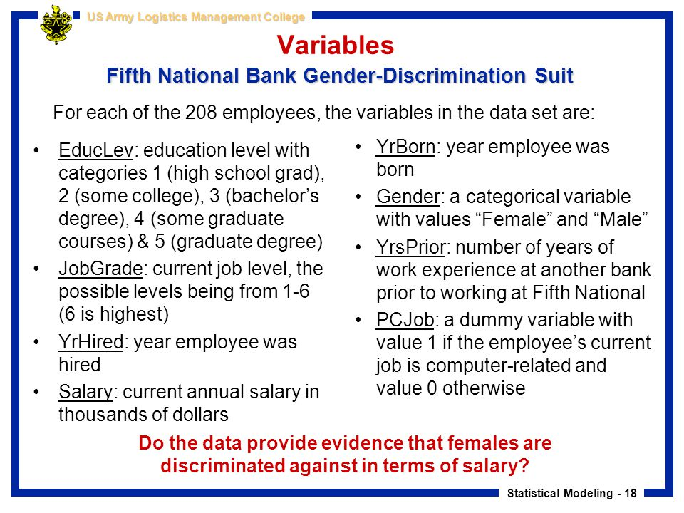 Statistical Modeling - 18 US Army Logistics Management College Fifth National Bank Gender-Discrimination Suit Variables Fifth National Bank Gender-Dis