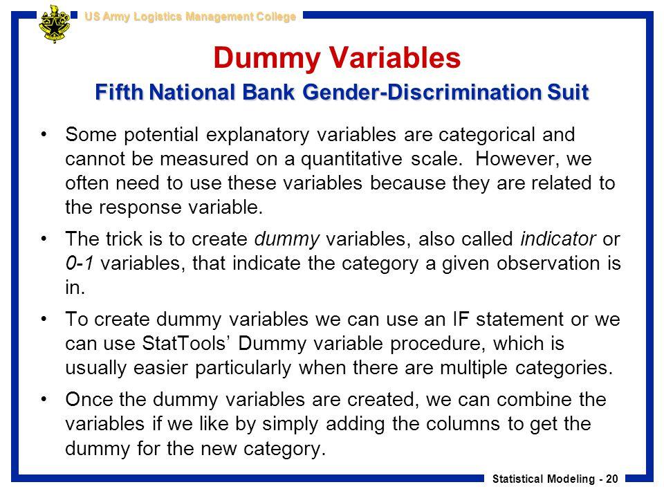 Statistical Modeling - 20 US Army Logistics Management College Fifth National Bank Gender-Discrimination Suit Dummy Variables Fifth National Bank Gend