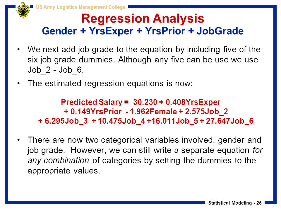 Statistical Modeling - 25 US Army Logistics Management College Regression Analysis Gender + YrsExper + YrsPrior + JobGrade We next add job grade to th