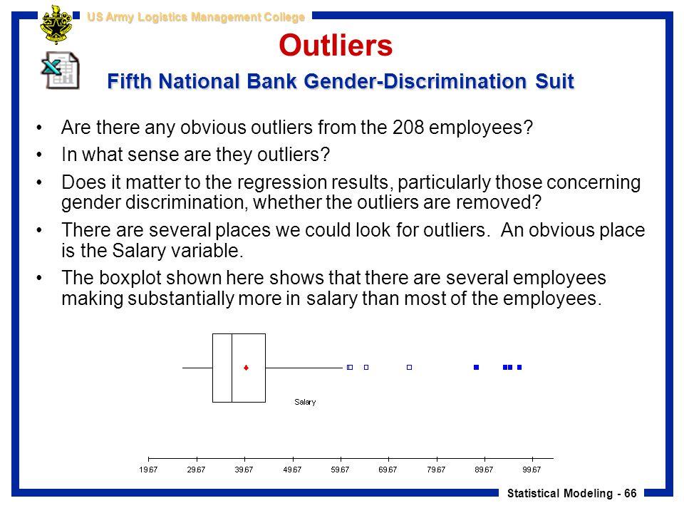 Statistical Modeling - 66 US Army Logistics Management College Fifth National Bank Gender-Discrimination Suit Outliers Fifth National Bank Gender-Disc