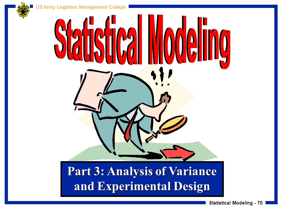 Statistical Modeling - 70 US Army Logistics Management College Part 3: Analysis of Variance and Experimental Design