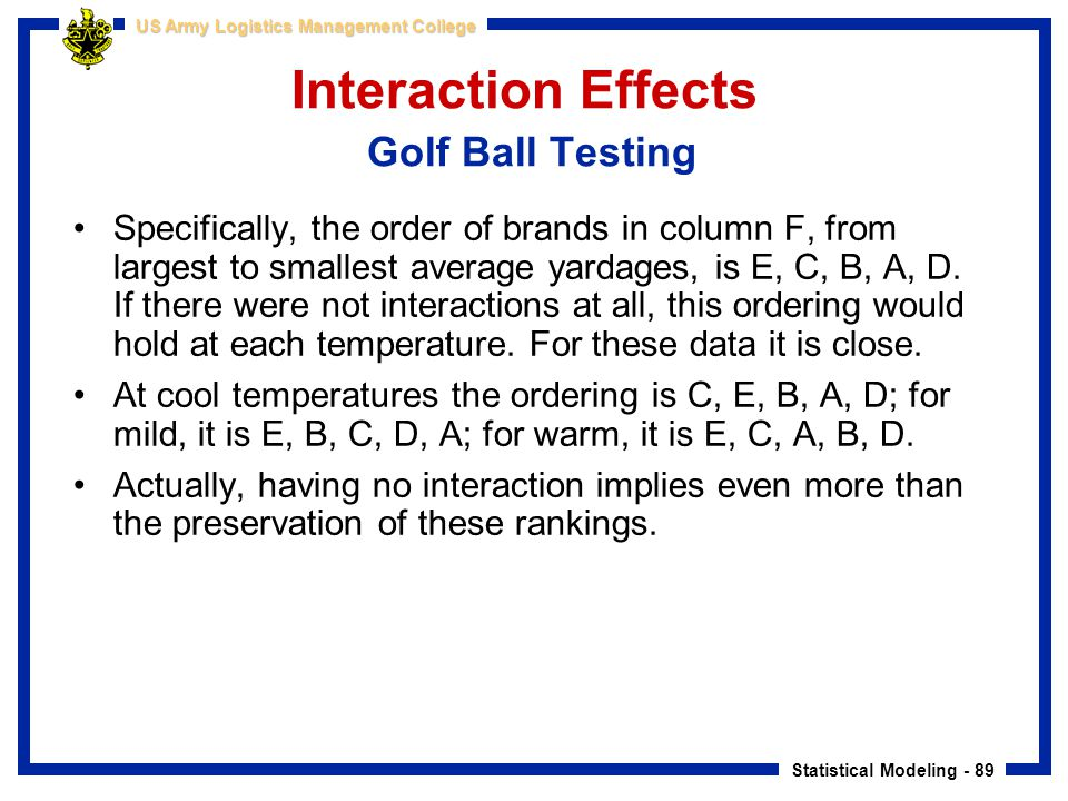 Statistical Modeling - 89 US Army Logistics Management College Interaction Effects Golf Ball Testing Specifically, the order of brands in column F, fr