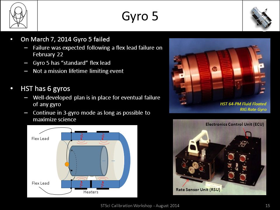 Gyro 5 STScI Calibration Workshop - August 201415 On March 7, 2014 Gyro 5 failed – Failure was expected following a flex lead failure on February 22 –