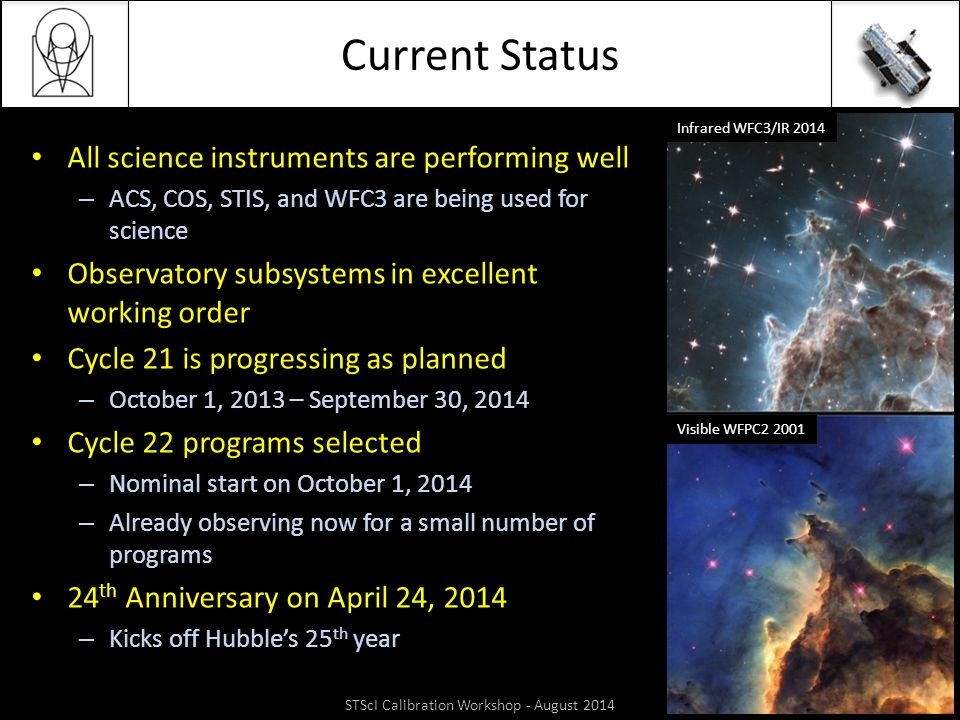 Current Status All science instruments are performing well – ACS, COS, STIS, and WFC3 are being used for science Observatory subsystems in excellent w