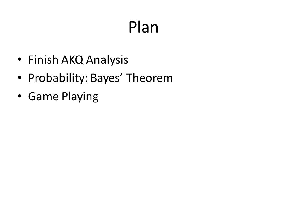 Plan Finish AKQ Analysis Probability: Bayes' Theorem Game Playing