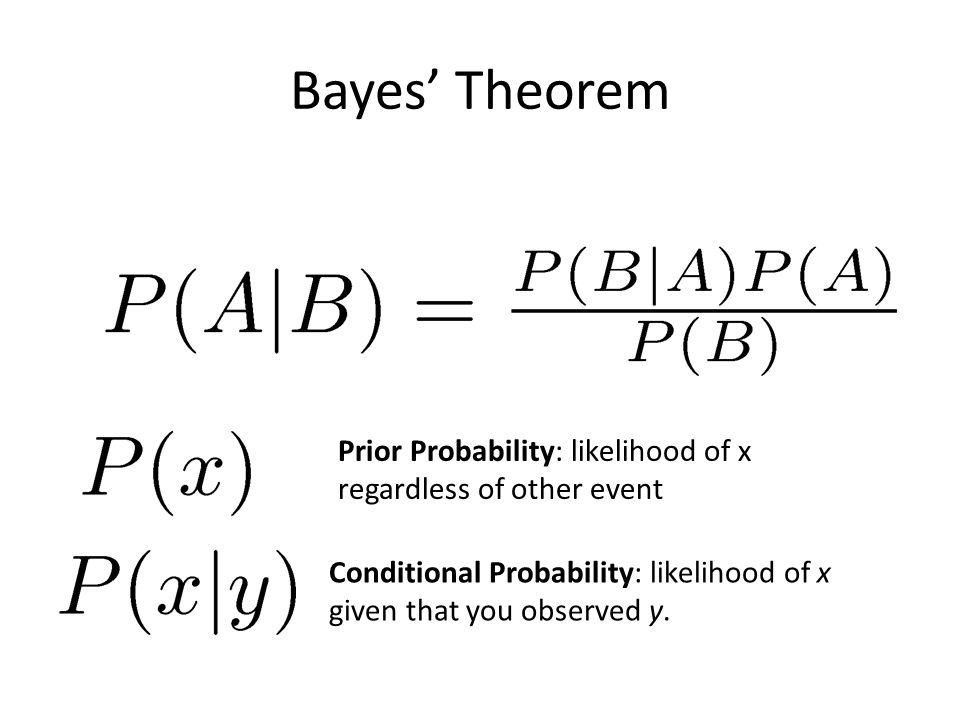 Bayes' Theorem Prior Probability: likelihood of x regardless of other event Conditional Probability: likelihood of x given that you observed y.