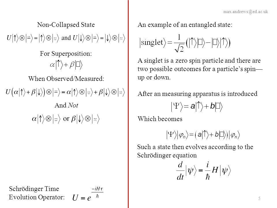 Schrödinger Time Evolution Operator: An example of an entangled state: A singlet is a zero spin particle and there are two possible outcomes for a par