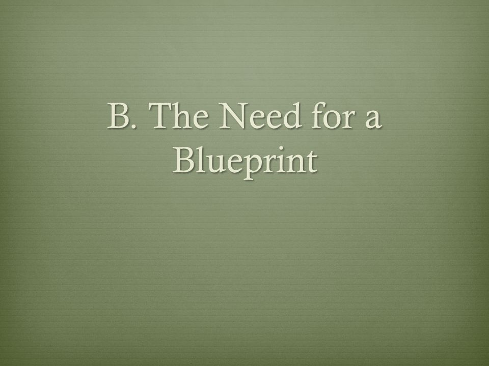 B. The Need for a Blueprint