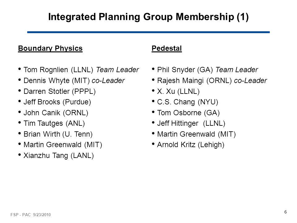 Integrated Planning Group Membership (1) Boundary Physics Tom Rognlien (LLNL) Team Leader Dennis Whyte (MIT) co-Leader Darren Stotler (PPPL) Jeff Brooks (Purdue) John Canik (ORNL) Tim Tautges (ANL) Brian Wirth (U.