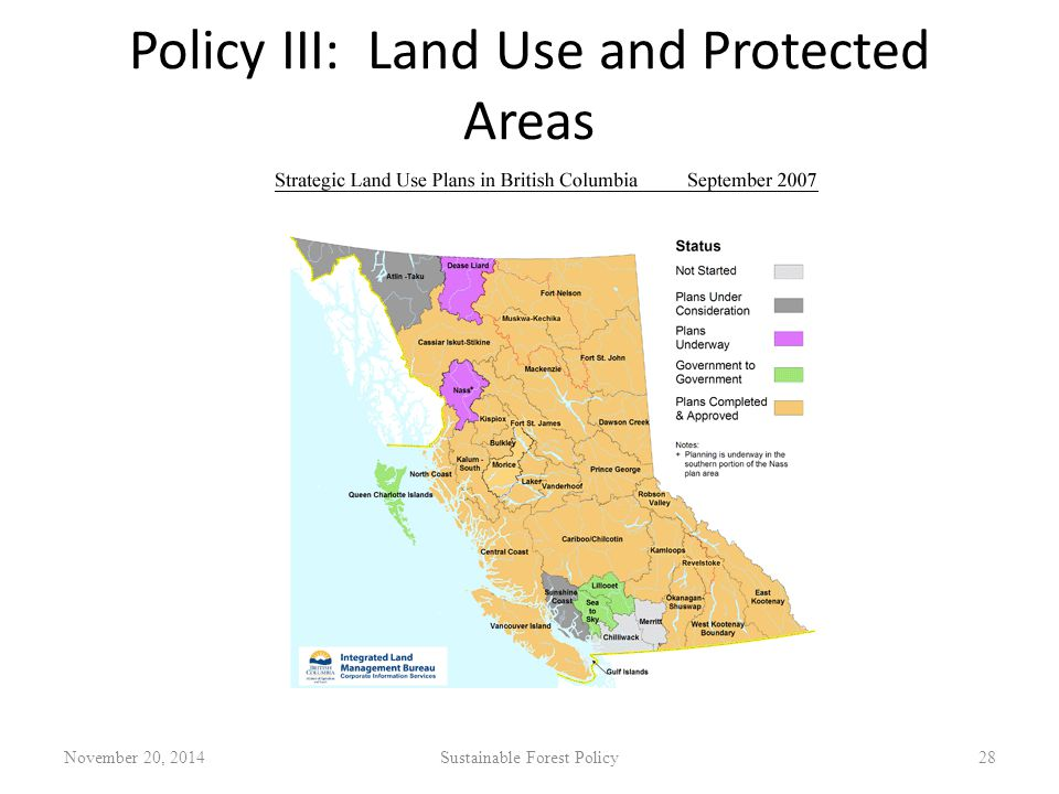 Policy III: Land Use and Protected Areas November 20, 2014Sustainable Forest Policy28