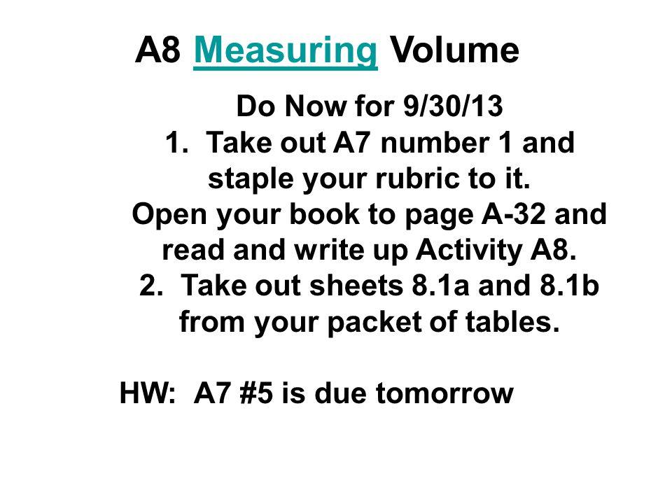 A8 Measuring VolumeMeasuring Do Now for 9/30/13 1.