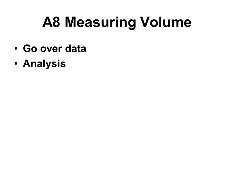 A8 Measuring Volume Go over data Analysis