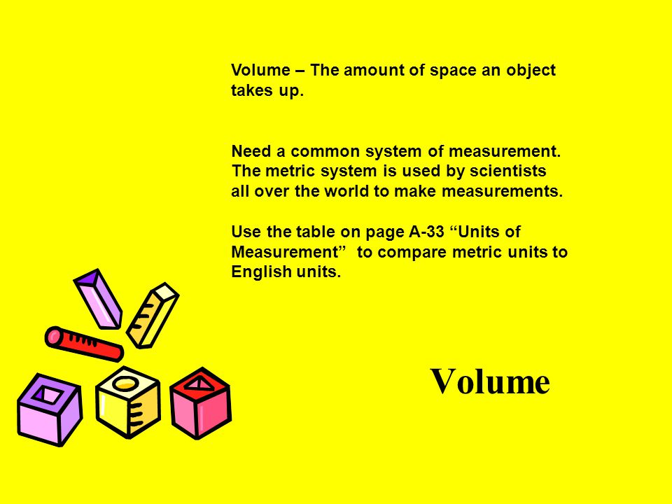 Volume Volume – The amount of space an object takes up.