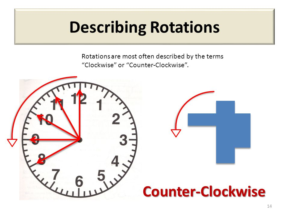 """Describing Rotations 14 Rotations are most often described by the terms """"Clockwise"""" or """"Counter-Clockwise"""". Counter-Clockwise"""