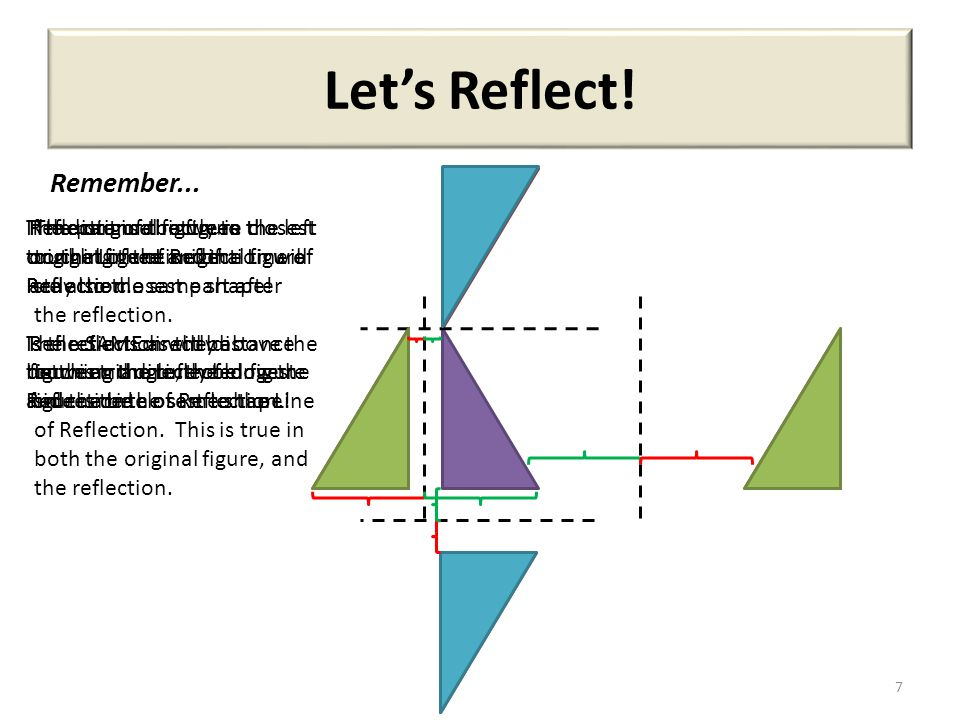 Let's Reflect! 7 Remember... The part of the figure closest to the Line of Reflection will stay the closest part after the reflection. In this triangl