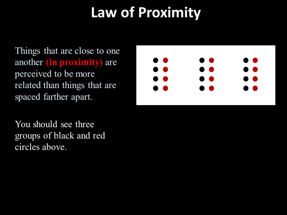 Law of Proximity Things that are close to one another (in proximity) are perceived to be more related than things that are spaced farther apart. You s