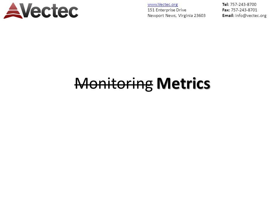 www.Vectec.org 151 Enterprise Drive Newport News, Virginia 23603 Tel: 757-243-8700 Fax: 757-243-8701 Email: info@vectec.org Metrics Monitoring Metrics
