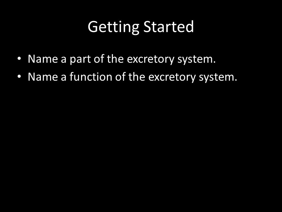 Getting Started Name a part of the excretory system. Name a function of the excretory system.