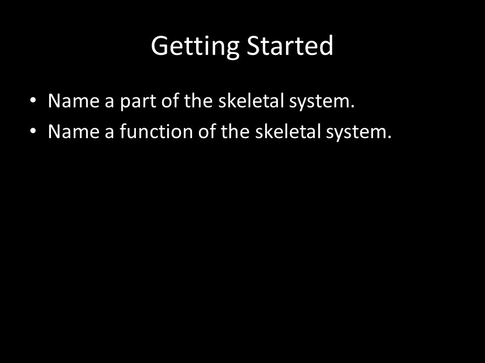 Getting Started Name a part of the skeletal system. Name a function of the skeletal system.