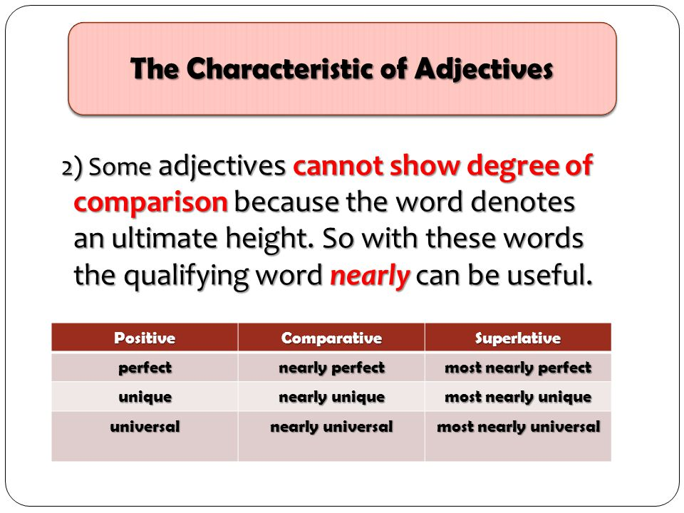 2) Some adjectives cannot show degree of comparison because the word denotes an ultimate height. So with these words the qualifying word nearly can be