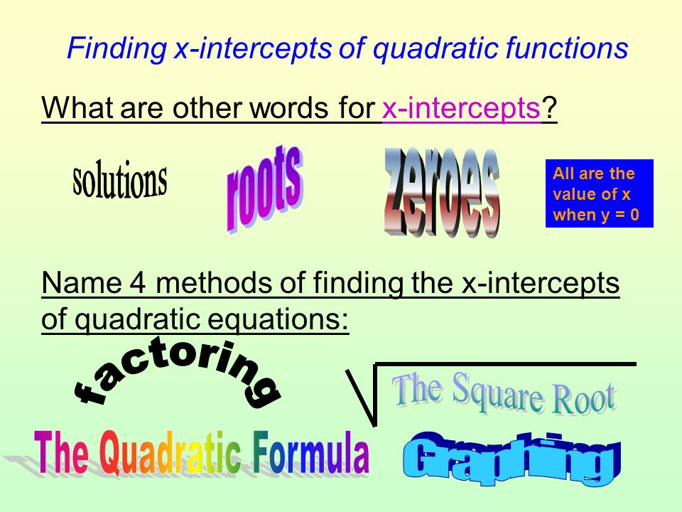 Finding x-intercepts of quadratic functions What are other words for x-intercepts? Name 4 methods of finding the x-intercepts of quadratic equations: