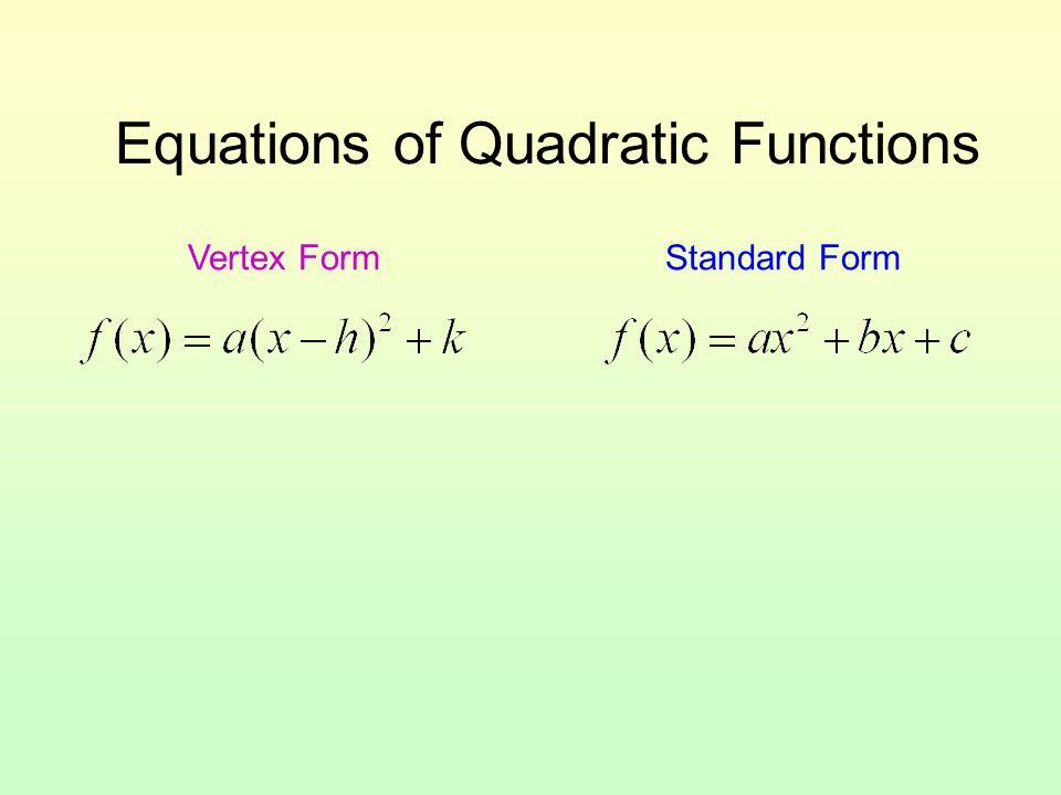 Equations of Quadratic Functions Vertex FormStandard Form