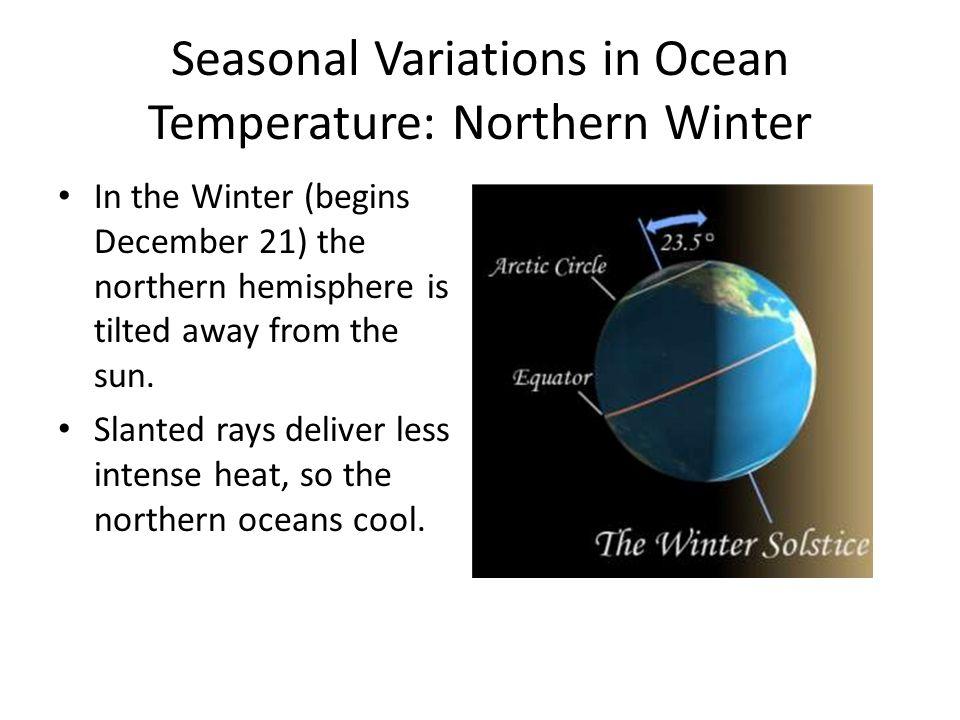 Seasonal Variations in Ocean Temperature: Northern Winter In the Winter (begins December 21) the northern hemisphere is tilted away from the sun. Slan