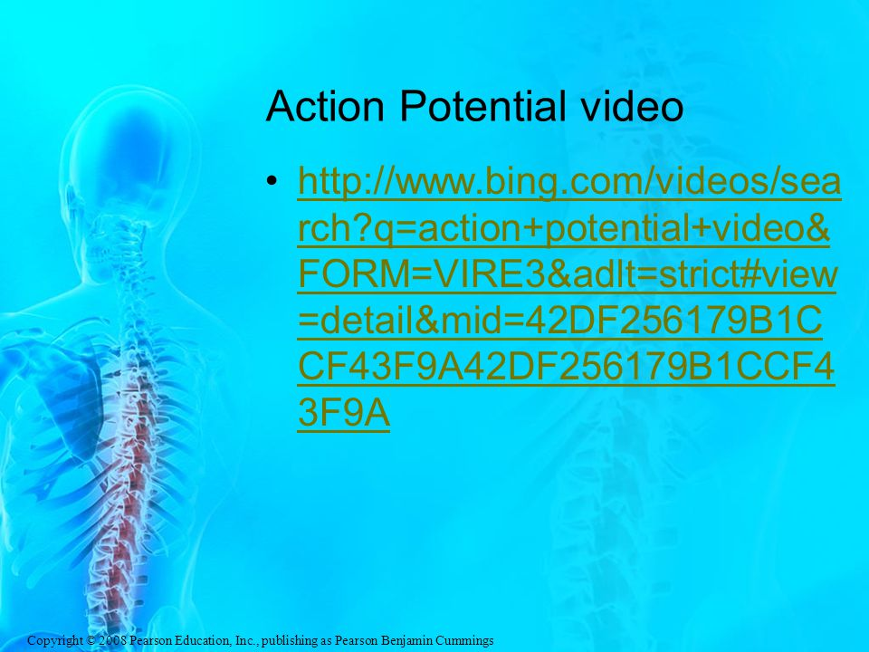 Copyright © 2008 Pearson Education, Inc., publishing as Pearson Benjamin Cummings Action Potential video http://www.bing.com/videos/sea rch?q=action+potential+video& FORM=VIRE3&adlt=strict#view =detail&mid=42DF256179B1C CF43F9A42DF256179B1CCF4 3F9Ahttp://www.bing.com/videos/sea rch?q=action+potential+video& FORM=VIRE3&adlt=strict#view =detail&mid=42DF256179B1C CF43F9A42DF256179B1CCF4 3F9A