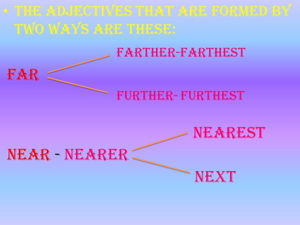 T he adjectives that are formed by two ways are these: farther-farthest Far further- furthest nearest Near - nearer next