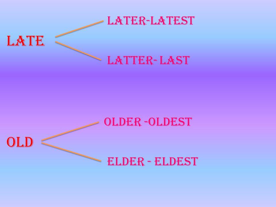 later-latest Late latter- last older -oldest Old elder - eldest