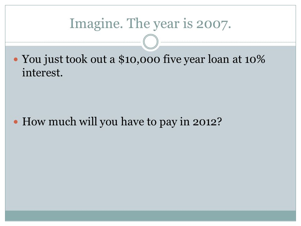 Imagine. The year is 2007. You just took out a $10,000 five year loan at 10% interest.