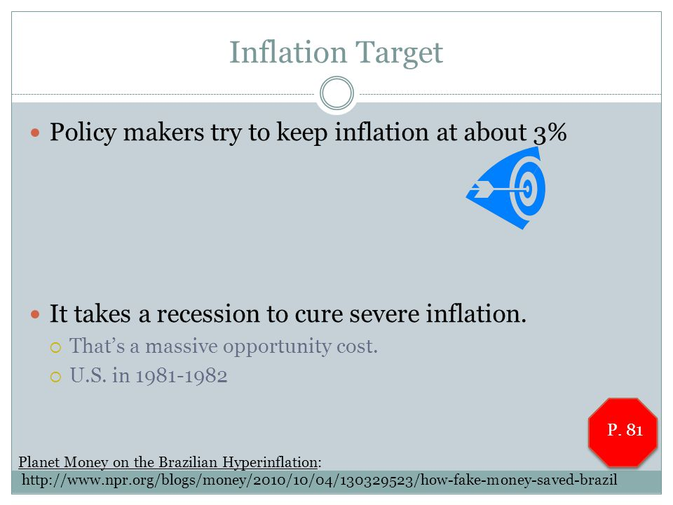 Inflation Target Policy makers try to keep inflation at about 3% It takes a recession to cure severe inflation.