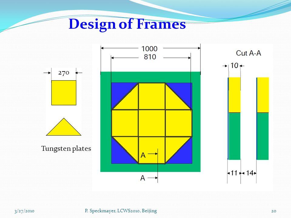 20 Design of Frames 270 Tungsten plates P. Speckmayer, LCWS2010, Beijing3/27/2010