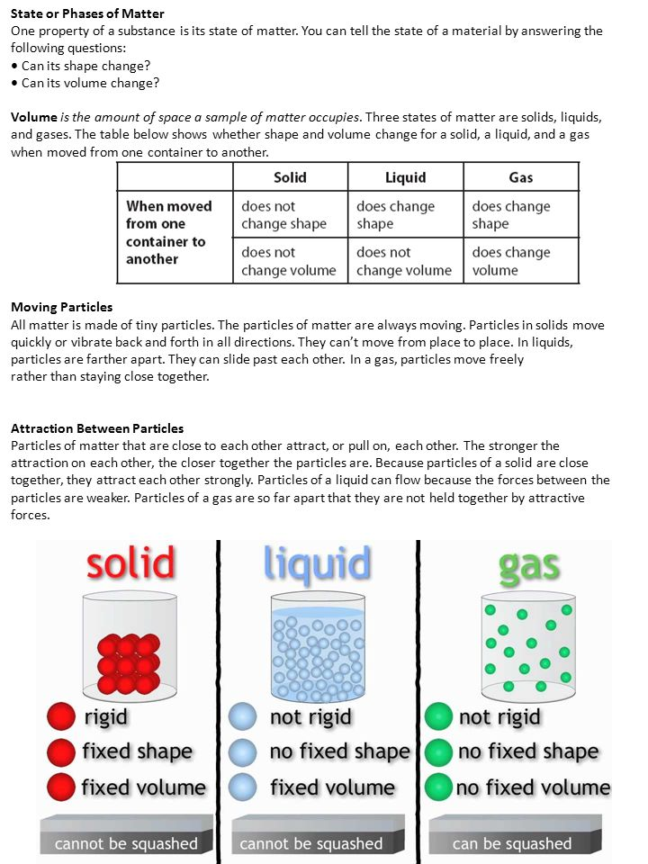State or Phases of Matter One property of a substance is its state of matter. You can tell the state of a material by answering the following question