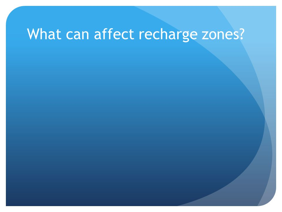 What can affect recharge zones?