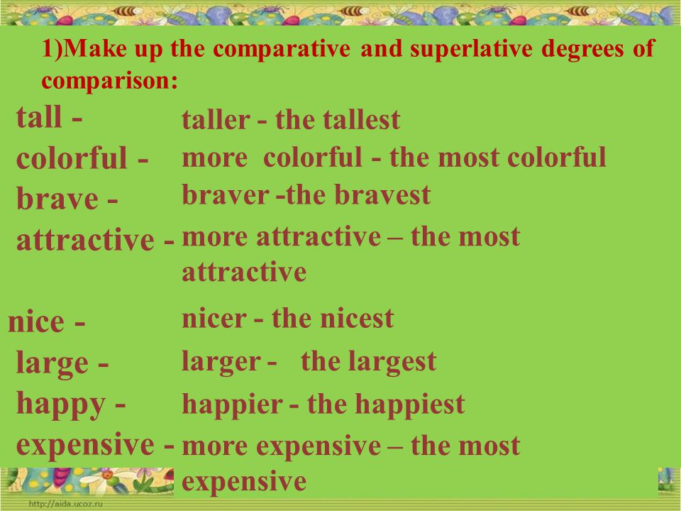1)Make up the comparative and superlative degrees of comparison: thin - warm - light - beautiful - clean - bad - dirty - thinner - the thinnest warmer