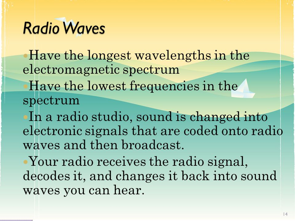 Radio Waves Have the longest wavelengths in the electromagnetic spectrum Have the lowest frequencies in the spectrum In a radio studio, sound is changed into electronic signals that are coded onto radio waves and then broadcast.