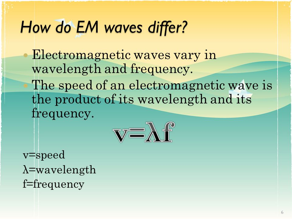 How do EM waves differ.Electromagnetic waves vary in wavelength and frequency.