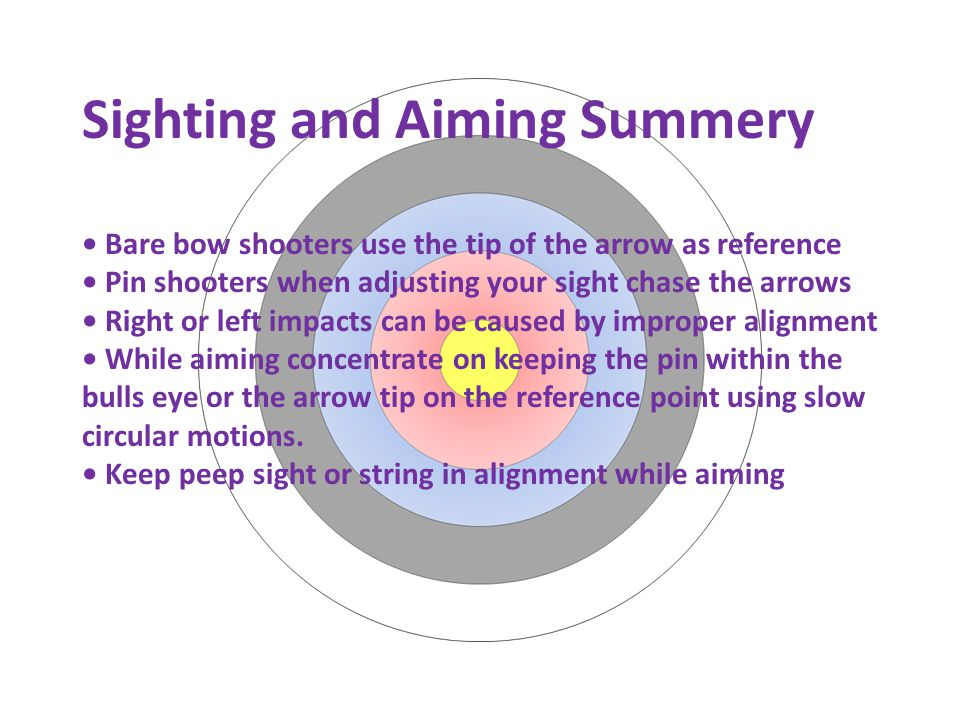 Sighting and Aiming Summery Bare bow shooters use the tip of the arrow as reference Pin shooters when adjusting your sight chase the arrows Right or left impacts can be caused by improper alignment While aiming concentrate on keeping the pin within the bulls eye or the arrow tip on the reference point using slow circular motions.