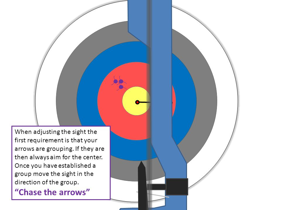 When adjusting the sight the first requirement is that your arrows are grouping. If they are then always aim for the center. Once you have established