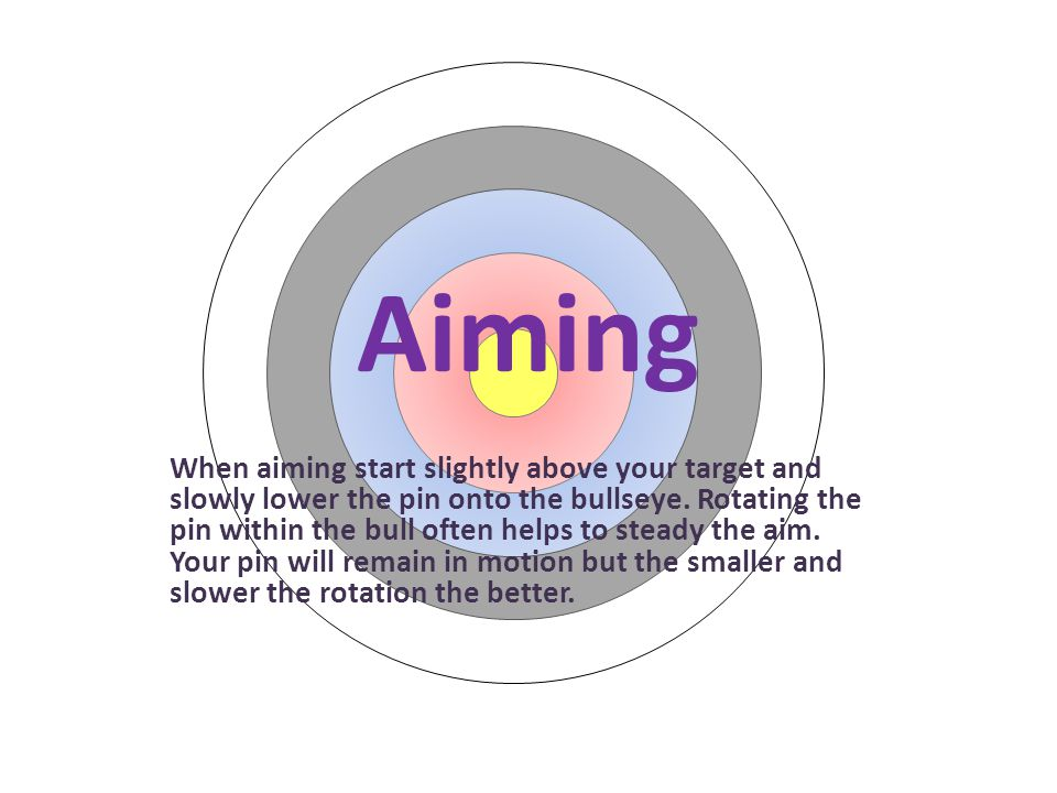 Aiming When aiming start slightly above your target and slowly lower the pin onto the bullseye. Rotating the pin within the bull often helps to steady