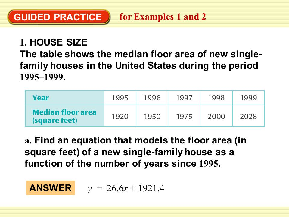 GUIDED PRACTICE for Examples 1 and 2 1. HOUSE SIZE The table shows the median floor area of new single- family houses in the United States during the