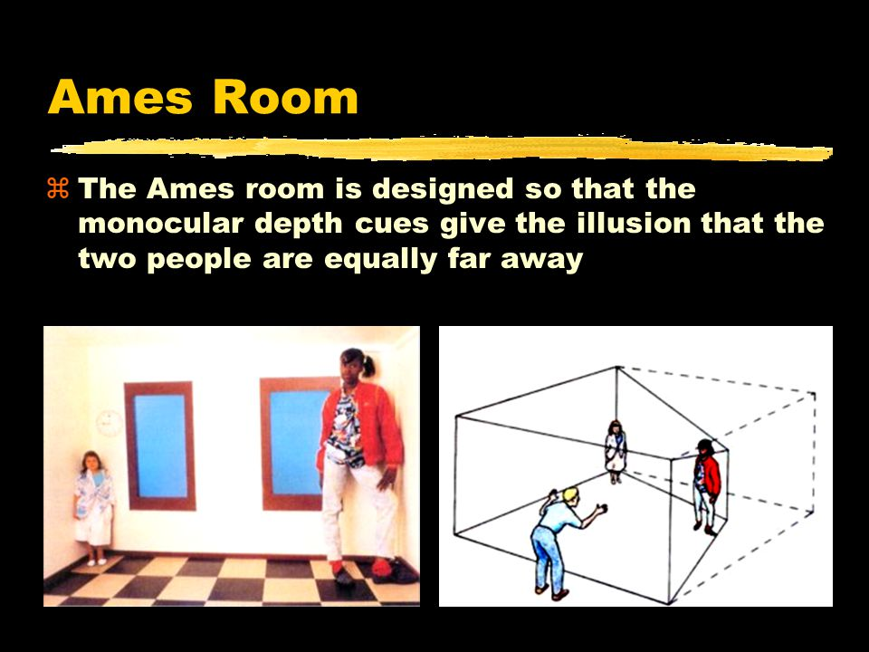 Ames Room zThe Ames room is designed so that the monocular depth cues give the illusion that the two people are equally far away