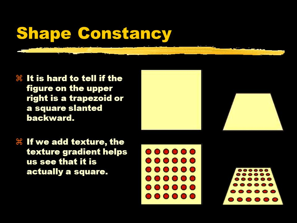 Shape Constancy zIt is hard to tell if the figure on the upper right is a trapezoid or a square slanted backward.