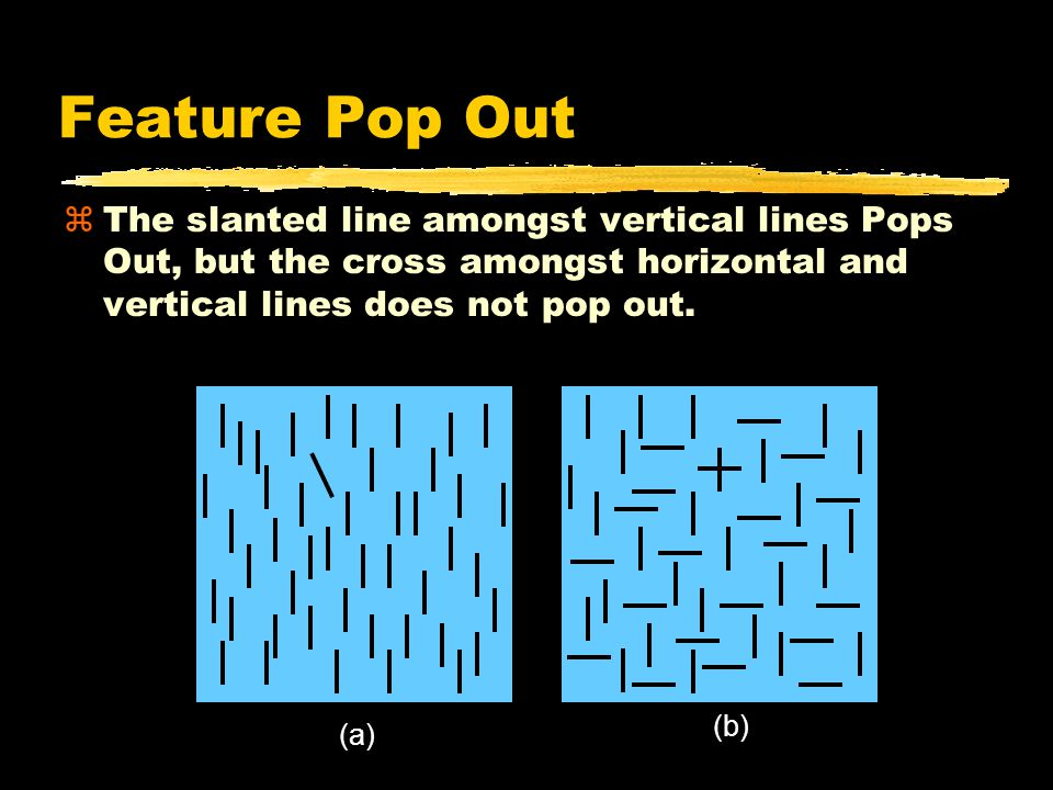 Feature Pop Out zThe slanted line amongst vertical lines Pops Out, but the cross amongst horizontal and vertical lines does not pop out.